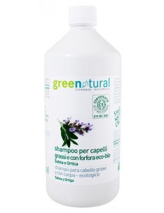 Shampoo Capelli Grassi e Forfora 1000ML - SALVIA E ORTICA - Greenatural